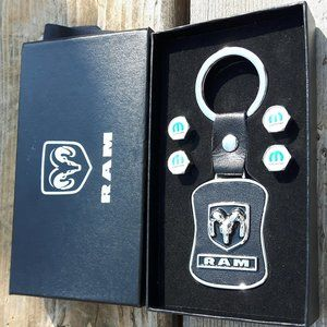 Dodge Ram Key Chain with Mopar Valve Caps NIP
